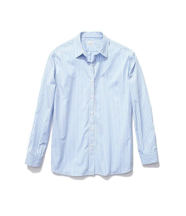 "<p>The Hutton Oversize Shirt in White/Sky, $238, <a href=""https://www.kule.com/collections/shirts/products/the-hutton-white-sky"" rel=""nofollow noopener"" target=""_blank"" data-ylk=""slk:kule.com"" class=""link rapid-noclick-resp"">kule.com</a> </p>"