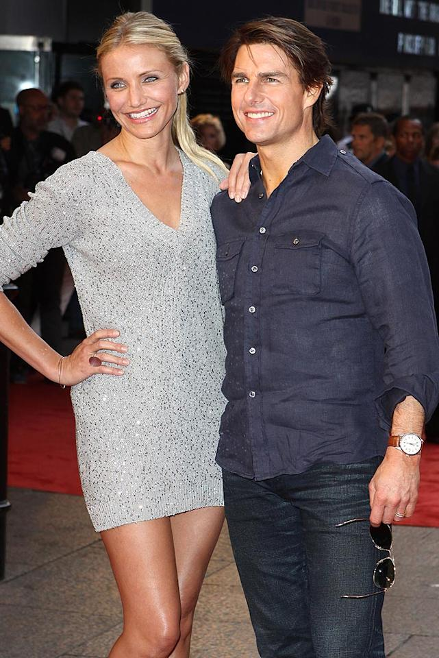 "While promoting their box office dud ""Knight and Day,"" co-stars Cameron Diaz and Tom Cruise couldn't stop gushing about each other. ""She's just such a great actress and such a good person,"" Tom said at the flick's London premiere. <a href=""http://www.splashnewsonline.com"" target=""new"">Splash News</a> - July 22, 2010"
