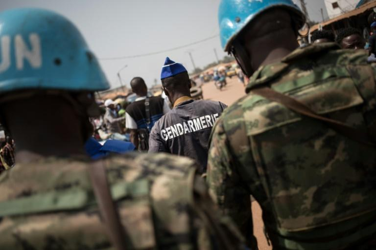UN peacekeeping police on patrol in the Central African Republic in January 2020 (AFP Photo/FLORENT VERGNES)