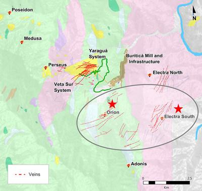 Figure 1: Buriticá Exploration Targets Highlighting Orion and Electra South (CNW Group/Continental Gold Inc.)
