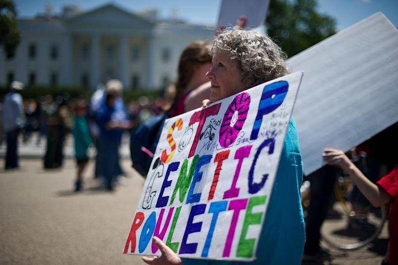A woman holds a sign during a demonstration against agribusiness giant Monsanto and genetically modified organisms (GMO) in front of the White House in Washington on May 25, 2013 (AFP Photo/Nicholas Kamm)