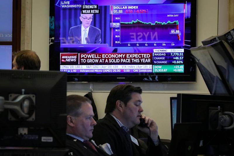 NEW YORK, NY - MARCH 20: A monitor displays Federal Reserve chairman Jerome Powell on the floor of the New York Stock Exchange (NYSE), March 20, 2019 in New York City. The Federal Reserve announced on Wednesday that interest rates will remain unchanged. (Photo by Drew Angerer/Getty Images)