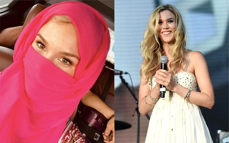 Joss Stone sparked criticism online after sharing a photograph of herself wearing a pink niqab [Photo: Instagram/Getty]