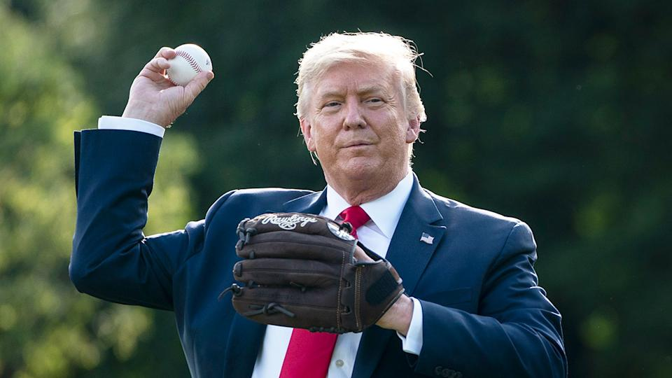 Seen here, US president Donald Trump partakes in a bit of baseball practice at the White House.