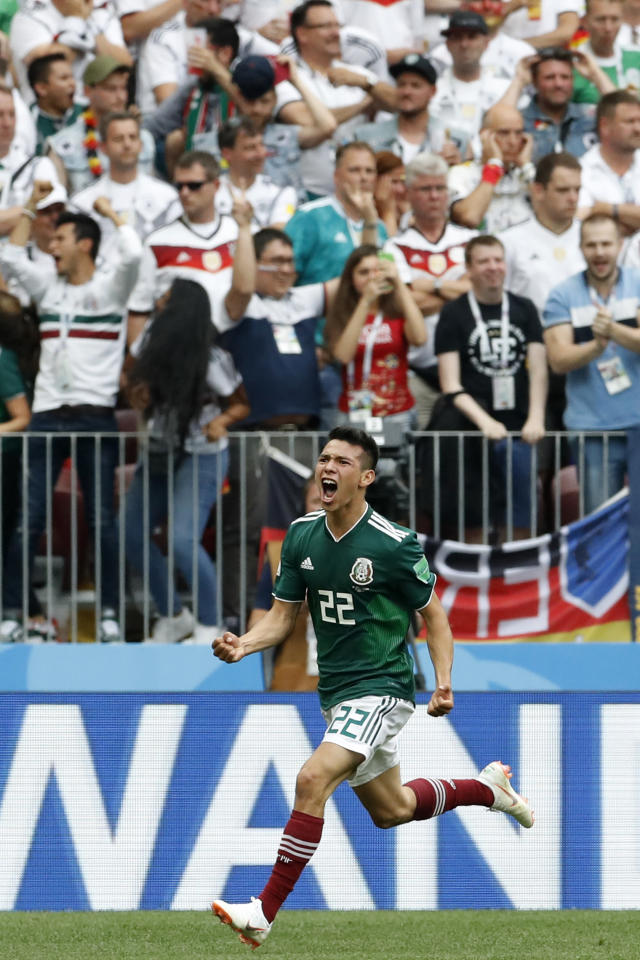 Mexico's Hirving Lozano celebrates scoring his side's opening goal during the group F match between Germany and Mexico at the 2018 soccer World Cup in the Luzhniki Stadium in Moscow, Russia, Sunday, June 17, 2018. (AP Photo/Antonio Calanni)