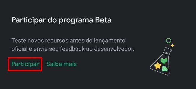 "Toque em ""Participar"" no banner do programa beta - (Captura: Canaltech/Felipe Freitas)"