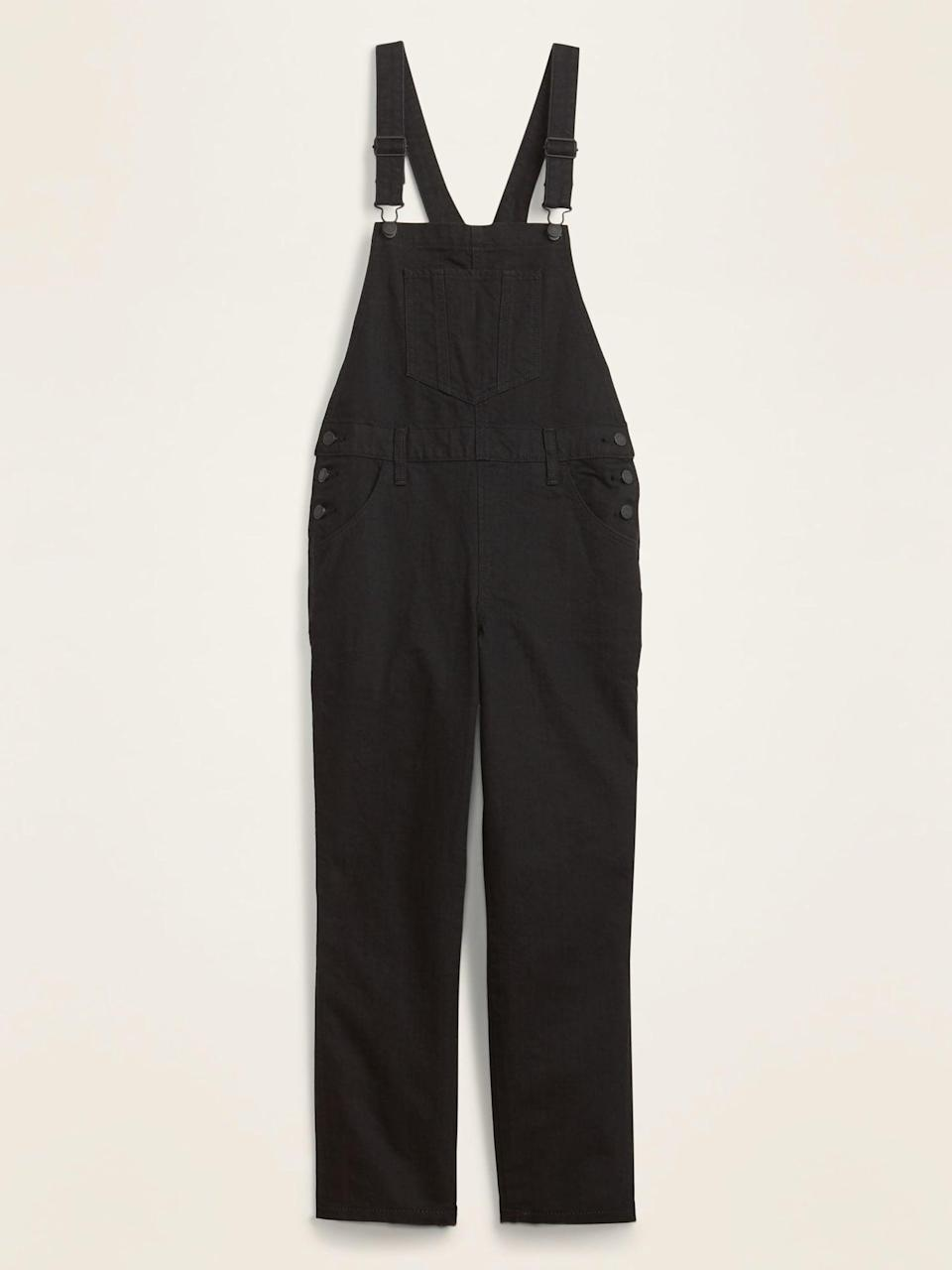 <p>Wear this <span>Boyfriend Black Jean Overalls</span> ($28, originally $55) with a long-sleeve sweatshirt and call it a day.</p>