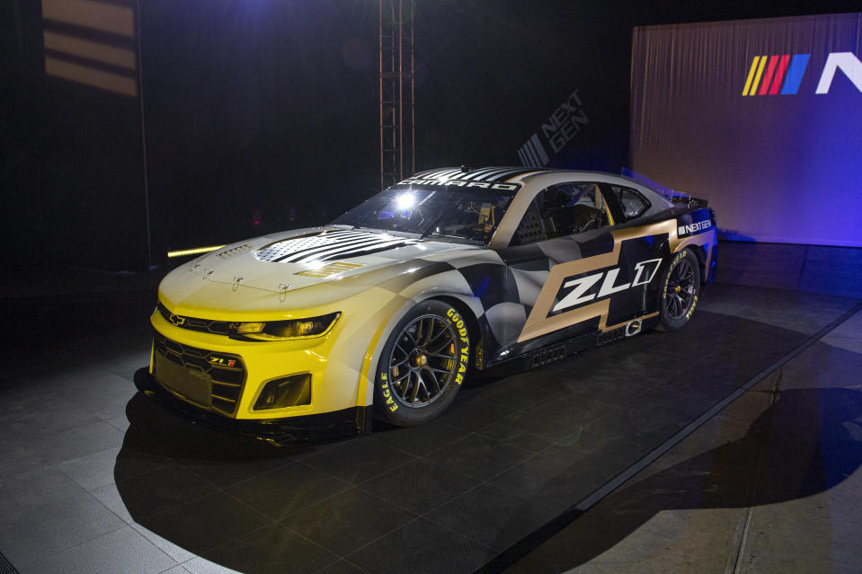 The 2022 Next Gen Chevrolet Camero Cup car was unveiled during a NASCAR media event in Charlotte, N.C., Wednesday, May 5, 2021. (AP Photo/Mike McCarn)