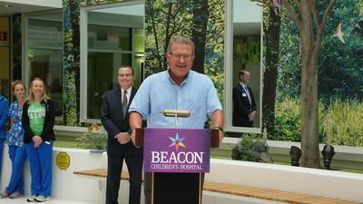 Matt Wesaw, Chairman of the Pokagon Band of Potawatomi Indians, speaks to the media before presenting a check for $127,500 to Beacon Children's Hospital in South Bend, Indiana. For 8 years, the Four Winds Invitational golf tournament has raised funds for Beacon Health System, totaling $672,500.