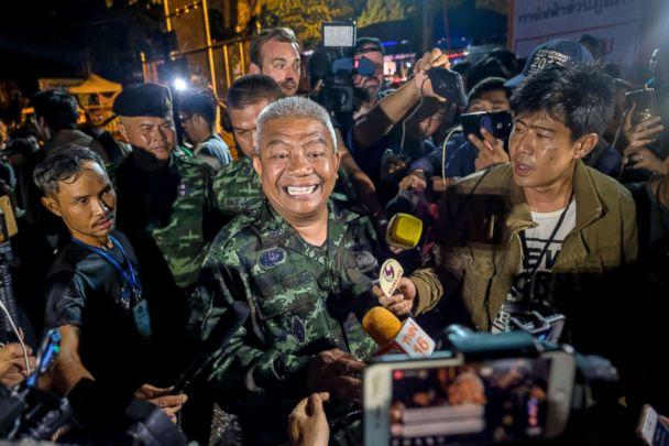 PHOTO: General Bancha Duriyaphan speaks to the press after the 12 boys and their soccer coach have been found alive in the cave where they've been missing for over a week after monsoon rains blocked the main entrance, July 02, 2018, in Thailand. (Linh Pham/Getty Images)