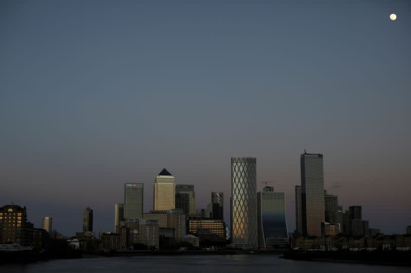 FILE PHOTO: General view of the Canary Wharf financial district in London