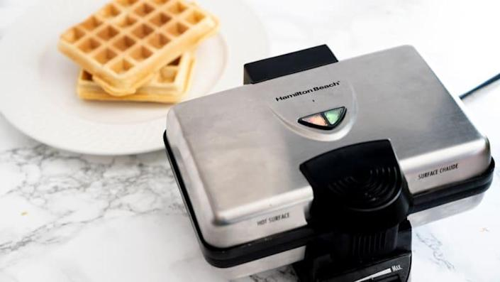We were impressed with how quickly the budget-friendly Hamilton Beach baked up Belgian waffles.