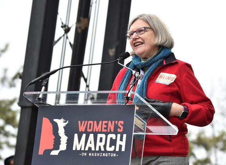 Sister Simone Campbell, speaking at the Women's March on Washington