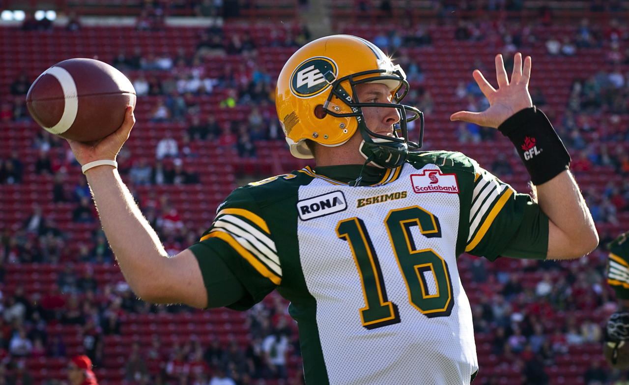 Edmonton Eskimos' quarterback Matt Nichols throws the ball during first half CFL pre-season football action against the Calgary Stampeders in Calgary, Alta., Friday, June 15, 2012. THE CANADIAN PRESS/Jeff McIntosh