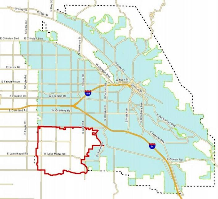 The more than 10-square-mile unincorporated area of Southwest Boise being considered by Boise's Citiy Council in summer 2021 for annexation is marked by the thick line. The adjoining city of Boise is shaded.