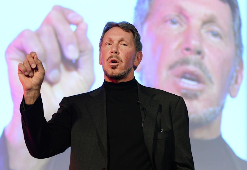 Larry Ellison, seen here speaking at the New Economy Summit in Tokyo on April 9, 2014, has stepped down as CEO of Oracle Corporation