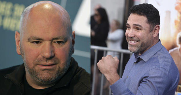 Dana White had a tremendous response to Oscar De La Hoya's since-deleted tweet. (AP Photo/John Locher)