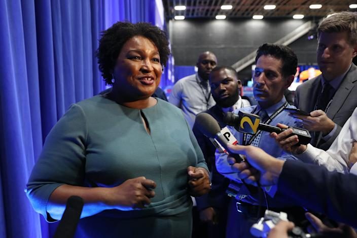 Democratic politician Stacey Abrams speaks to the media before the Democratic Presidential Debate at Tyler Perry Studios November 20, 2019 in Atlanta, Georgia.