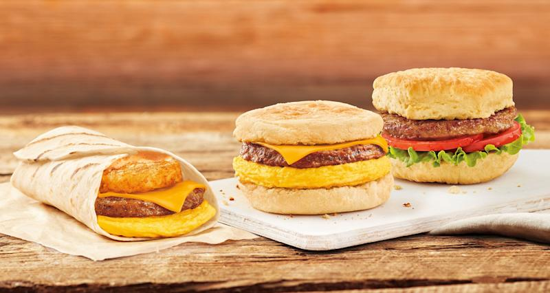 Tim Hortons is testing three 100% plant-based breakfast sandwich options, including a Beyond Meat Breakfast Sandwich, a Beyond Meat Farmers Breakfast Wrap and a Beyond Meat Vegan Sandwich. (CNW Group/Tim Hortons)