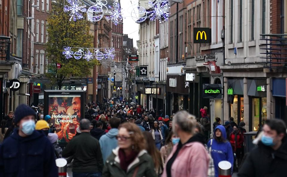 Shoppers in Nottingham city centre on December 6 2020.  (Photo: PA)
