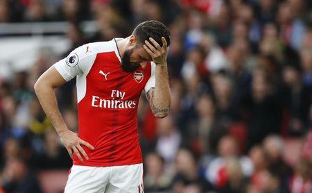 Britain Football Soccer - Arsenal v Manchester City - Premier League - Emirates Stadium - 2/4/17 Arsenal's Olivier Giroud looks dejected  Reuters / Eddie Keogh Livepic