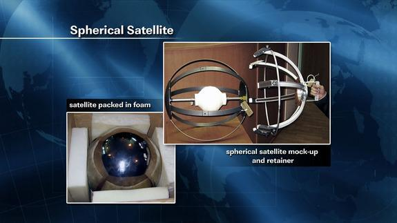 This NASA graphic shows the small, spherical satellite that cosmonauts Gennady Padalka and Yuri Malenchenko will toss into space during an Aug. 20, 2012, spacewalk outside the International Space Station.