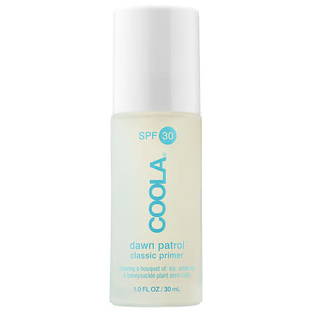 "<p>If sunscreen chemicals weird you out, Coola should be your go-to. This clear formula is vegan, cruelty free, non-GMO, and uses stem cells from iris, white lily, and honeysuckle to help repair damage. Major plus: It smells like a bouquet without using synthetic fragrances. <a href=""http://shop.coolasuncare.com/classic-face-spf-30-dawn-patrol-makeup-primer"" rel=""nofollow noopener"" target=""_blank"" data-ylk=""slk:Coola Dawn Patrol Classic Primer SPF 30"" class=""link rapid-noclick-resp"">Coola Dawn Patrol Classic Primer SPF 30</a>, $42. (Photo: Coola) </p>"
