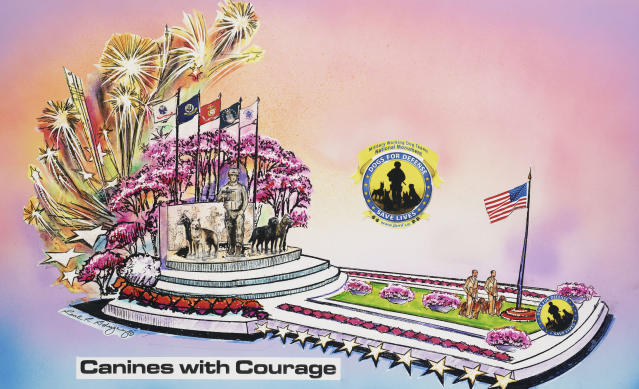 """In this undated publicity photo provided by Natural Balance, a rendering of a float called """"Canines with Courage,"""" the Natural Balance entry for the Tournament of Roses parade in Pasadena on Jan. 1, 2013 is shown. War handler veteran, John Burnam, and dogs and handlers from every branch of the service will ride the float. (AP Photo/Natural Balance)"""