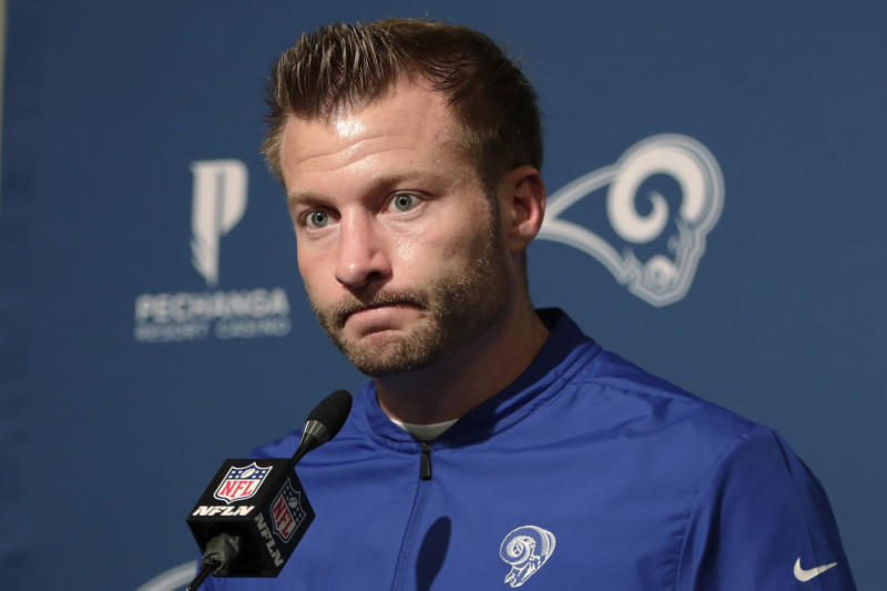 Los Angeles Rams coach Sean McVay speaks at a news conference after the Rams lost to the San Francisco 49ers in an NFL football game in Santa Clara, Calif., Saturday, Dec. 21, 2019. (AP Photo/John Hefti)