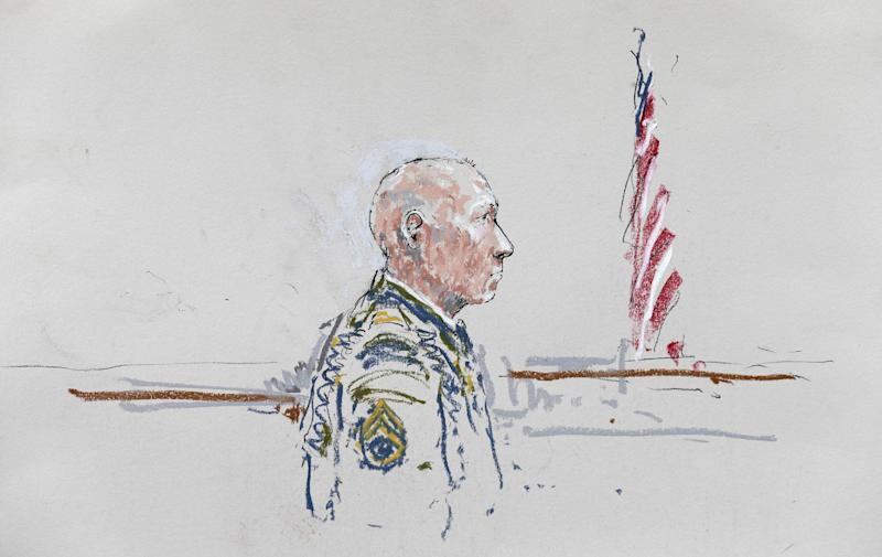 In this courtroom sketch, U.S. Army Staff Sgt. Robert Bales appears Wednesday, June 5, 2013, during a plea hearing in a military courtroom at Joint Base Lewis-McChord in Washington state. Bales is accused of 16 counts of premeditated murder and six counts of attempted murder for a pre-dawn attack on two villages in Kandahar Province in Afghanistan in March, 2012. (AP Photo/Peter Millett)