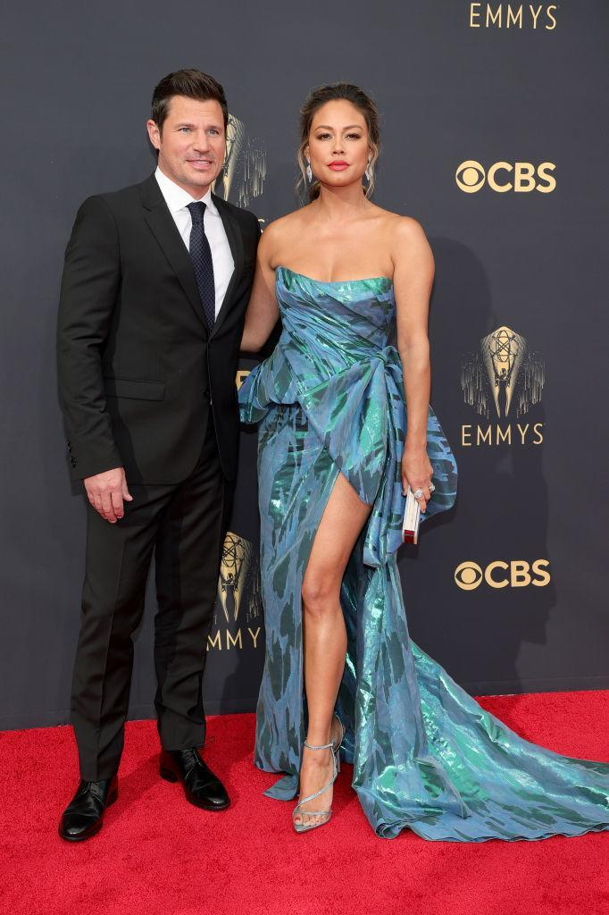 Nick and Vanessa Lachey attend the 73rd Primetime Emmy Awards on Sept. 19 at L.A. LIVE in Los Angeles. (Photo: Rich Fury/Getty Images)