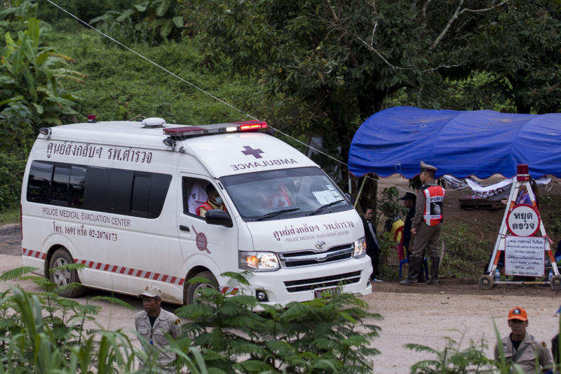 An ambulance leaves the Tham Luang cave area as operations continue for those still trapped inside the cave in Khun Nam Nang Non Forest Park in the Mae Sai district of Chiang Rai province on July 10, 2018.