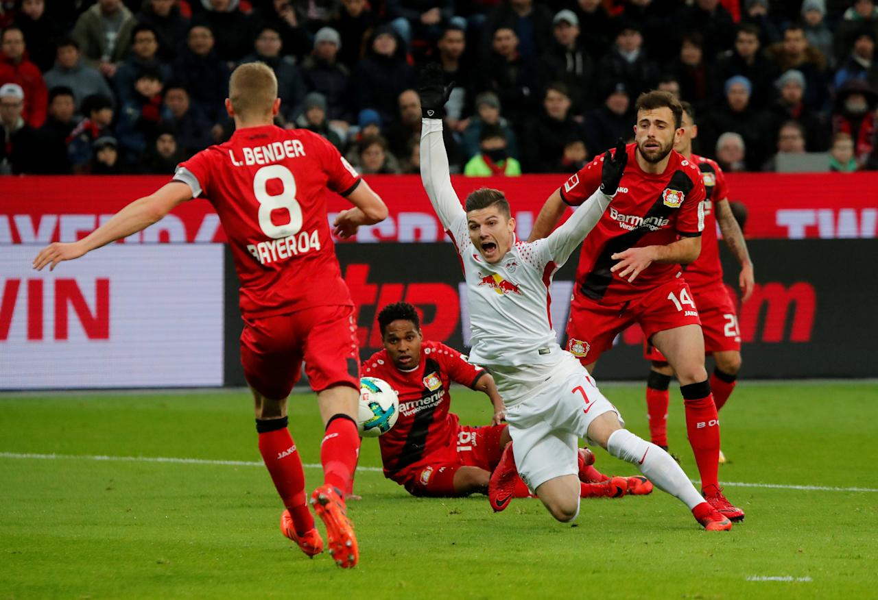 Soccer Football - Bundesliga - Bayer Leverkusen vs RB Leipzig - BayArena, Leverkusen, Germany - November 18, 2017   RB Leipzig's Marcel Sabitzer is fouled for a penalty     REUTERS/Wolfgang Rattay    DFL RULES TO LIMIT THE ONLINE USAGE DURING MATCH TIME TO 15 PICTURES PER GAME. IMAGE SEQUENCES TO SIMULATE VIDEO IS NOT ALLOWED AT ANY TIME. FOR FURTHER QUERIES PLEASE CONTACT DFL DIRECTLY AT + 49 69 650050     TPX IMAGES OF THE DAY