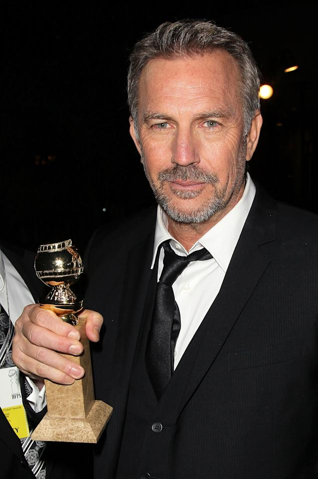 BEVERLY HILLS, CA - JANUARY 13:  Actor Kevin Costner poses following the Golden Globes Awards at The Beverly Hilton hotel on January 13, 2013 in Beverly Hills, California.  (Photo by David Livingston/Getty Images)