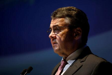 FILE PHOTO: German Foreign Minister Sigmar Gabriel speaks during the 11th Annual International Institute for National Security Studies (INSS) Conference in Tel Aviv