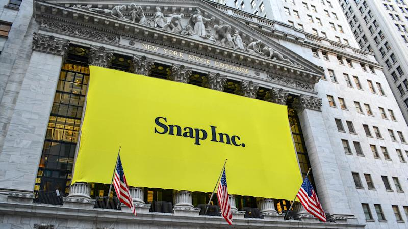 New York City, USA - March 2, 2017: Sign at the New York Stock Exchange marking the Initial Public Offering of Snapchat's parent company, Snap Inc.