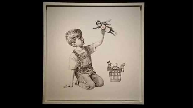A painting by anonymous artist Banksy has sold for £16.8 million (roughly $30 million Cdn) at auction. The figure is a record price for Banksy, the auction house said. (Reuters - image credit)