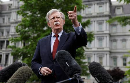U.S. national security adviser John Bolton talks to reporters at the White House in Washington, U.S., May 1, 2019. REUTERS/Kevin Lamarque