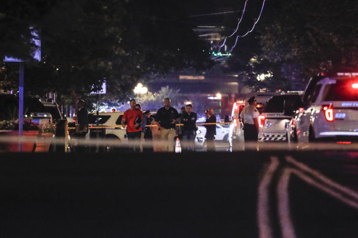 Police cordoning off the crime scene after the rampage in Dayton, Ohio in the early hours of Sunday morning. (AP)