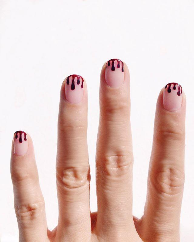 "<p>If you're all about the details, you'll love this almost-pretty subtle blood drip on your fingertips. It'll look like you just sunk your hands into somebody (hah?) while also keeping it cute, lol. </p><p><a href=""https://www.instagram.com/p/B3hZx60Hr-V/?utm_source=ig_embed&utm_campaign=loading"" rel=""nofollow noopener"" target=""_blank"" data-ylk=""slk:See the original post on Instagram"" class=""link rapid-noclick-resp"">See the original post on Instagram</a></p>"