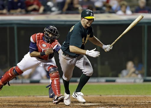 Oakland Athletics' Adam Rosales breaks for first after a dropped third strike by Cleveland Indians catcher Carlos Santana, left, in the fifth inning of a baseball game Tuesday, Aug. 28, 2012, in Cleveland. Santana recovered and threw out Rosales. (AP Photo/Mark Duncan)