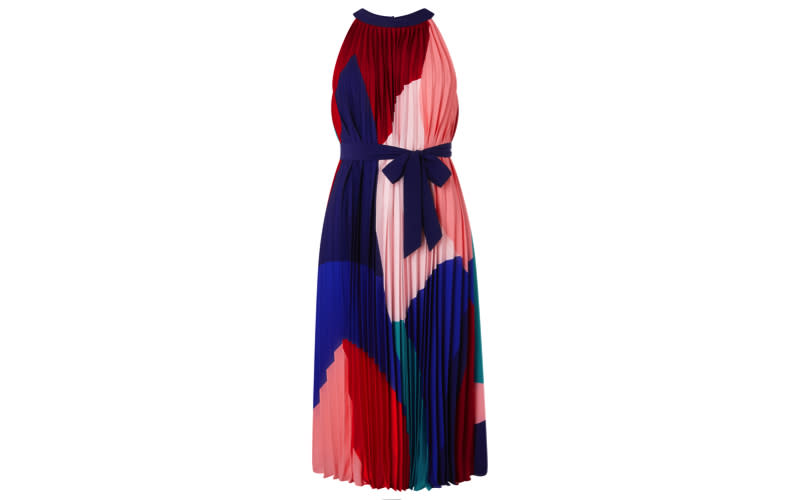 """If you're not one to shy away from colour then make sure to check out this pleated midi dress from Monsoon. It's sure to be an investment piece that will see you through the summer months - perfect teamed with a blazer for work. <a href=""""https://uk.monsoon.co.uk/view/product/uk_catalog/mon_20/6429270810"""" rel=""""nofollow noopener"""" target=""""_blank"""" data-ylk=""""slk:Shop now"""" class=""""link rapid-noclick-resp""""><em>Shop now</em></a>."""