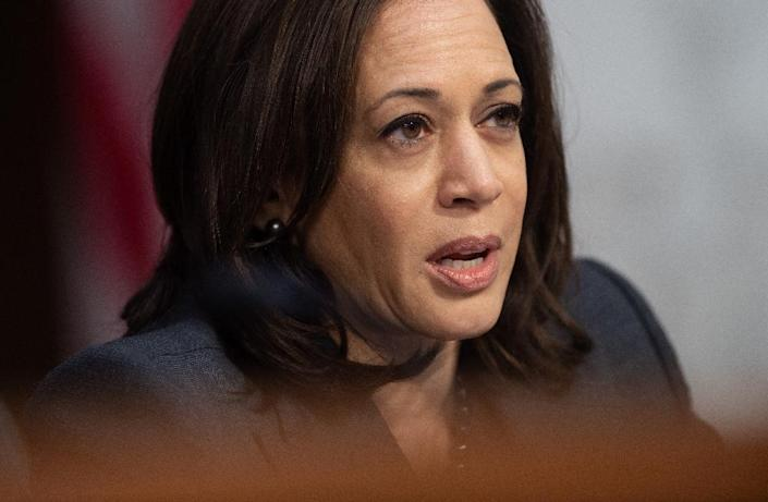 """While Senator Kamala Harris hit out at US President Donald Trump's border wall as a """"medieval vanity project,"""" she focused more on speaking """"truth"""" about solutions on economics, climate change and racism in early 2020 presidential campaign speeches (AFP Photo/SAUL LOEB)"""