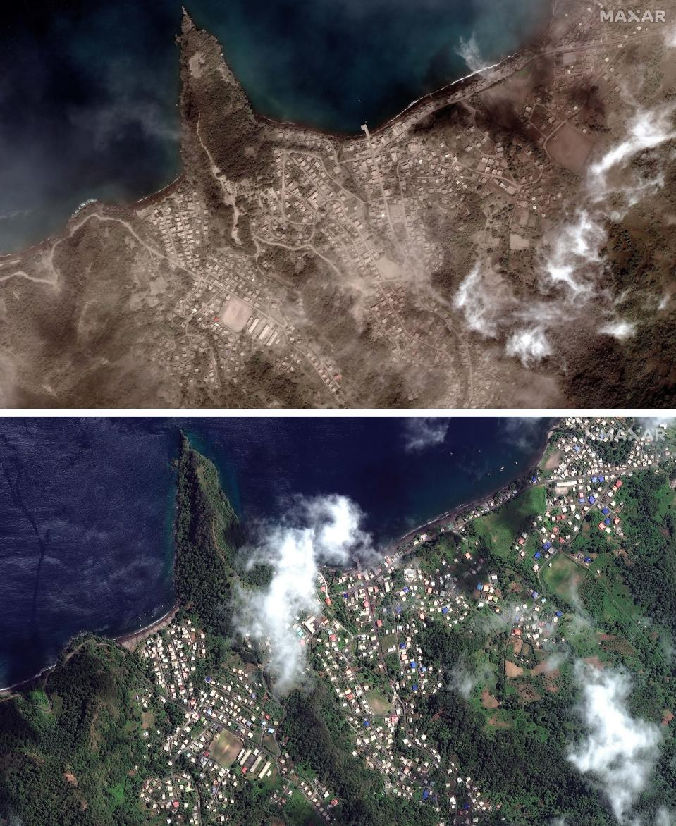 This combo of two photos with images provided by Maxar Technologies shows, top, the Richmond Vale waterfront covered in volcanic ash, in Chateaubelair, St. Vincent, Tuesday, April 13, 2021, a day after after another eruption of the La Soufriere volcano, and below, the Richmond Vale waterfront on Friday, April 2, 2021. (Satellite image ©2021 Maxar Technologies via AP)