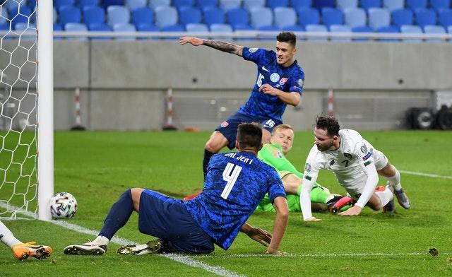 Republic of Ireland midfielder Alan Browne hits the post in Slovakia