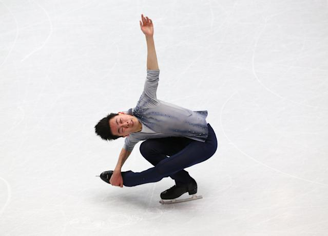 Figure Skating - World Figure Skating Championships - The Mediolanum Forum, Milan, Italy - March 22, 2018 Vincent Zhou of the U.S. during the Men's Short Programme REUTERS/Alessandro Bianchi
