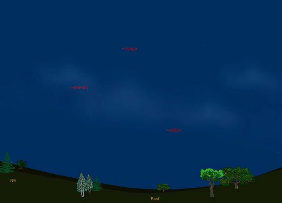 This sky map shows the location of the bright stars Vega, Altair and Deneb in the eastern night sky in summer 2012.The stars form the Summer Triangle visible in North Hemisphere night skies.