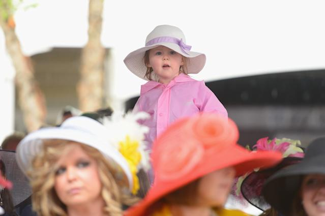 LOUISVILLE, KY - MAY 04: A little guest attends the 139th Kentucky Derby at Churchill Downs on May 4, 2013 in Louisville, Kentucky. (Photo by Michael Loccisano/Getty Images)