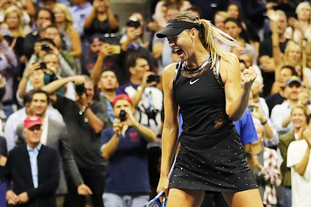 <p>Maria Sharapova of Russia celebrates winning her first round Women's Singles match against Simona Halep of Romania on Day One of the 2017 US Open at the USTA Billie Jean King National Tennis Center on August 28, 2017 in the Flushing neighborhood of the Queens borough of New York City. (Photo by Elsa/Getty Images) </p>