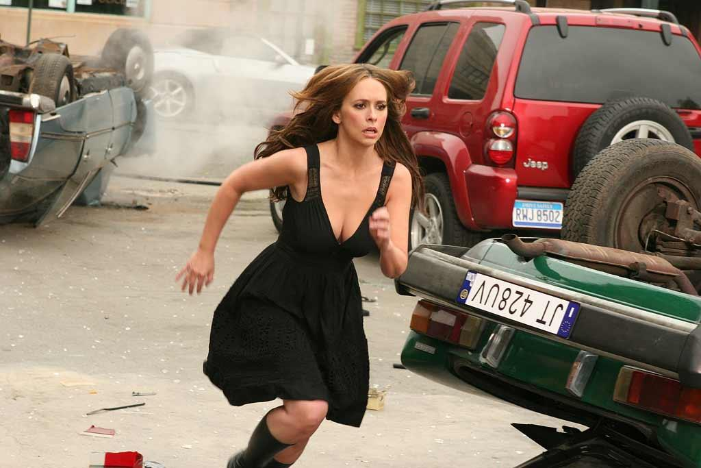 Melinda (Jennifer Love Hewitt) fears for the safety of her loved ones when a prophet ghost shows her visions of a deadly future, on Night One of the two-part second season finale of Ghost Whisperer.  In this scene, as part of the eerie visions Melinda has started experiencing, she frantically dodges falling cars that only she can see.